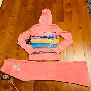 Juicy Couture logo velour hoodie & pockets pant